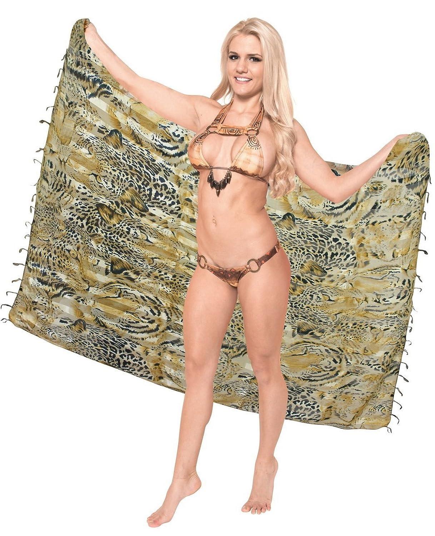 La Leela leichte Chiffon Satin Streifen braun alle in einem Strand loung Abnutzung/Badeanzug vertuschen/Tunika/sundress/Bikini Schlitz Rock/Damen Pareo/Badeanzug Sarong Kleid 182x108 cm wickeln
