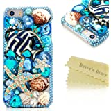 SE Case,iPhone SE/5S/5 Case - Mavis's Diary 3D Handmade Luxury Colorful Shiny Bling Crystal Rhinestone Diamond Starfish Shell Design Hard Cover Clear Case for iPhone SE/5/5S & Clean Cloth (One Case)