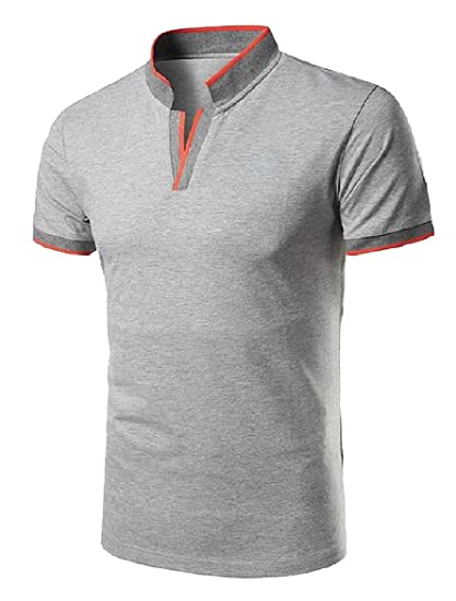 5ec2a37d Ruhua Men Mandarin Collar Slim Short Sleeve Solid-Colored Polo Tops T-Shirts  Light