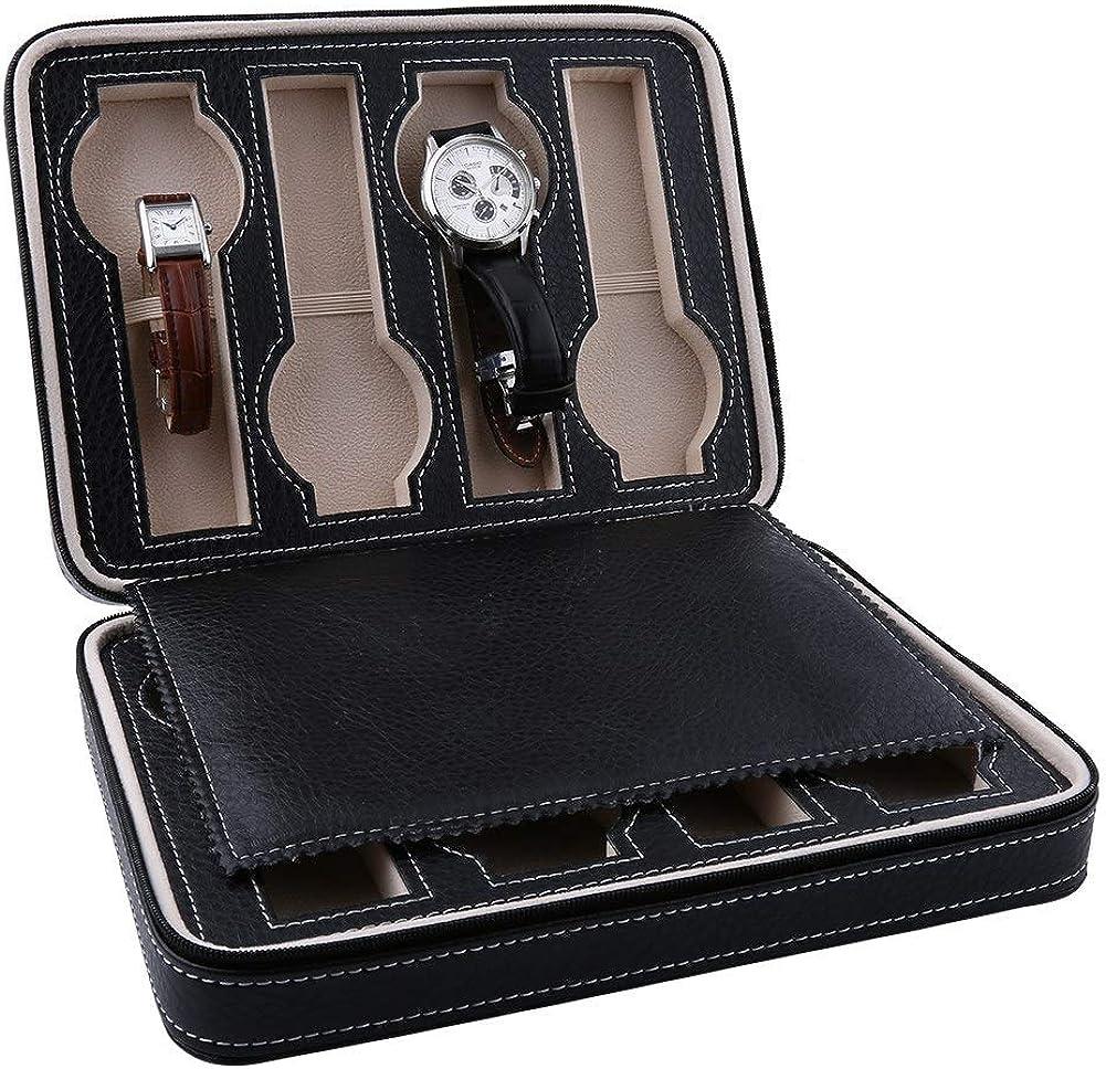 AYNEFY Uhrenkasten 8 Uhren,Uhrenbox 8 Uhren Aufbewahrung aus PU Leder Uhrenkasten f/ür Schmuck Uhren Accessoires Uhrenvitrine Geschenk f/ür M/änner Frauen 24 x 18 x 6 cm