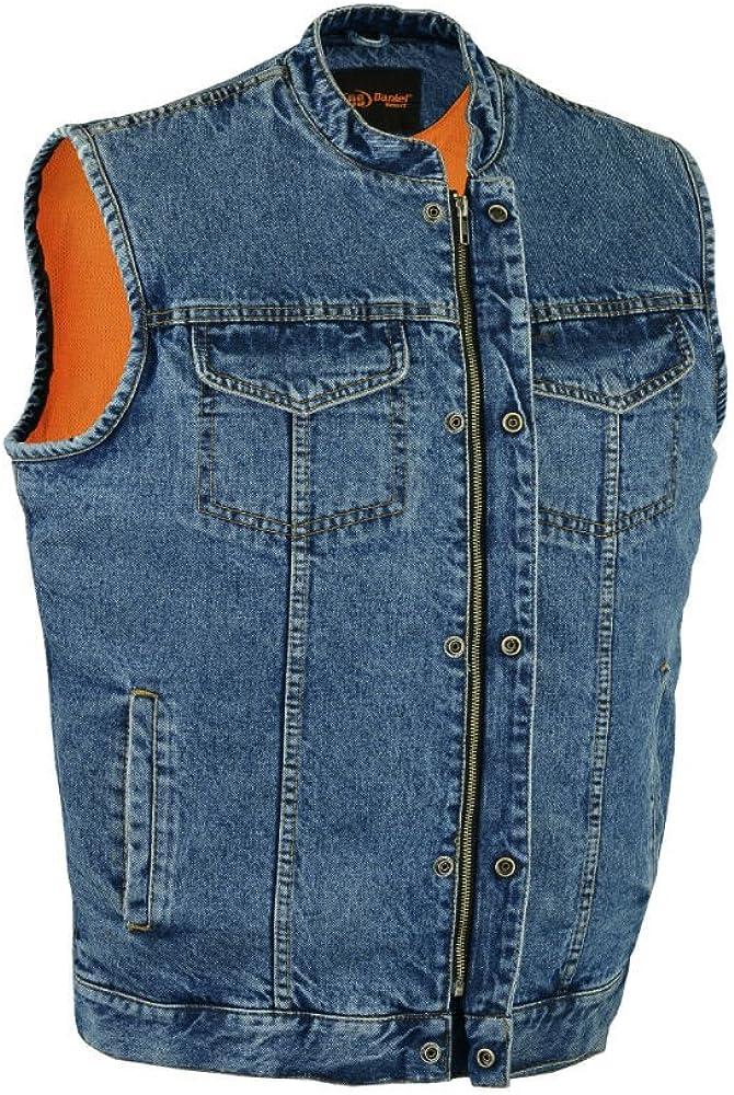 Motorcycle Vest DM989BU Concealed Snap Closure Denim Material Scoop Collar /& Hidden Zipper