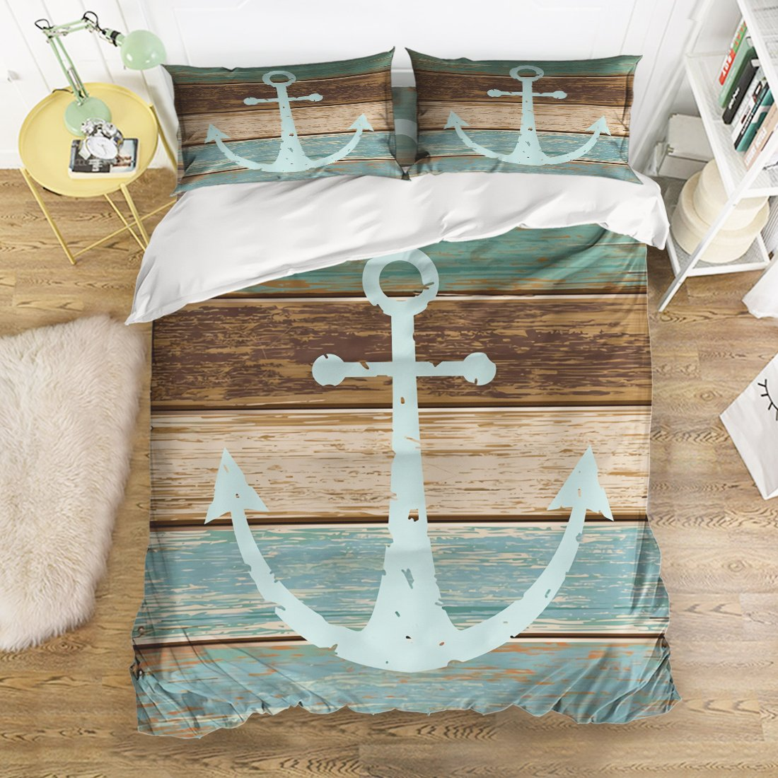 4 Pcs Bedding Set-Nautical Anchor Rustic Wood Board Pattern Duvet Cover Set Ultra Soft and Easy Care Sheet Quilt Sets with Decorative Pillow Covers for Children Kids Adults-Twin