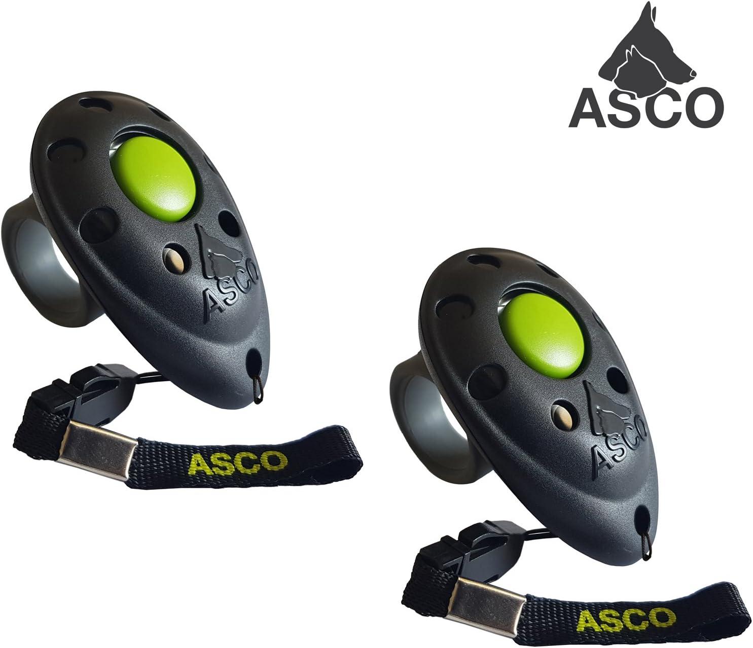 ASCO 2 clickers clicker de Dedo para Entrenamiento adiestramiento de Perros con clicker Blanco AC05F2X clicker Profesional para Perros Gatos Caballos