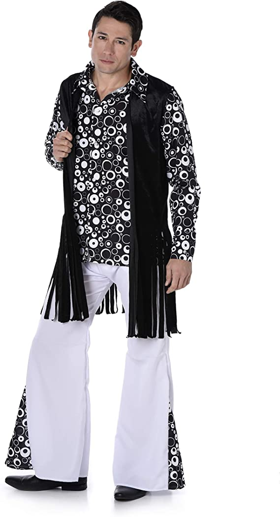 Generique - Disfraz Hippie Retro Blanco y Negro Hombre M: Amazon ...