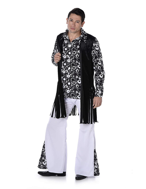 Disfraz Hippie retro blanco y negro hombre: Amazon.es ...
