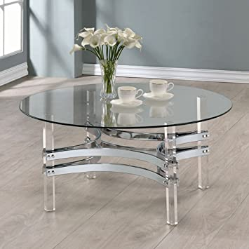 Amazoncom Coaster Round Glass Top Coffee Table in Chrome