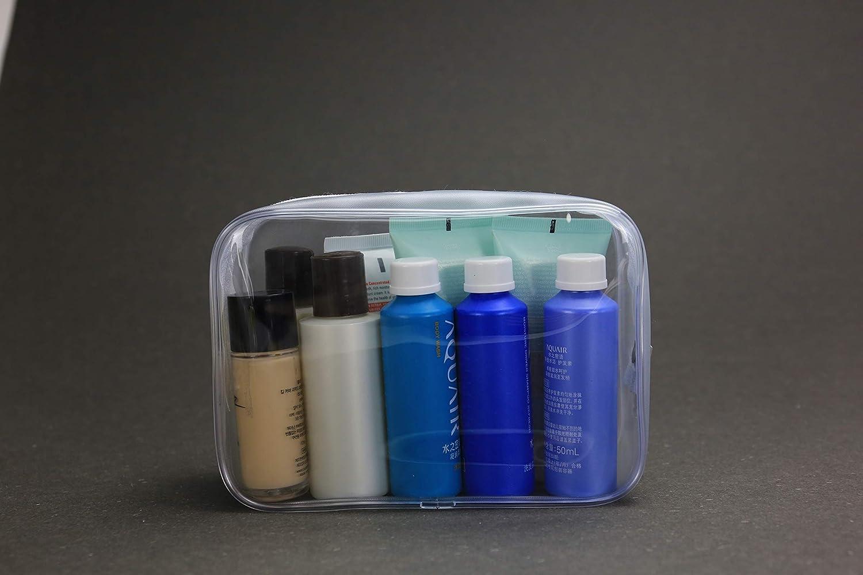 PVC Bolsa Port/átil de Maquillaje,Bolsa Cosm/éticos Transparente 5 Piezas Impermeable Claro Bolsa de Aseo con Cremallera para Vacaci/ón Ba/ño y Almacenamiento