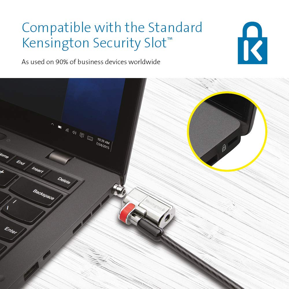 1.5m Length Strong Lock Head and One-Handed Operation Kensington ClickSafe Laptop Lock With Anti-Tampering Technology K64637WW