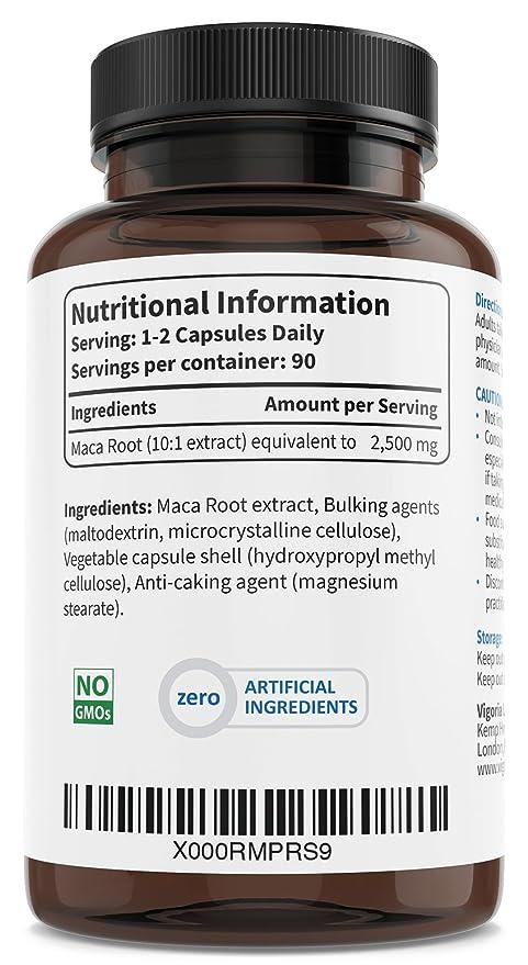 Maca Andina - 2500 mg 90 cápsulas para 3 meses - Extracto natural 10: 1 de polvo de pura raíz de maca peruana - Mejora los niveles de energía, resistencia, ...