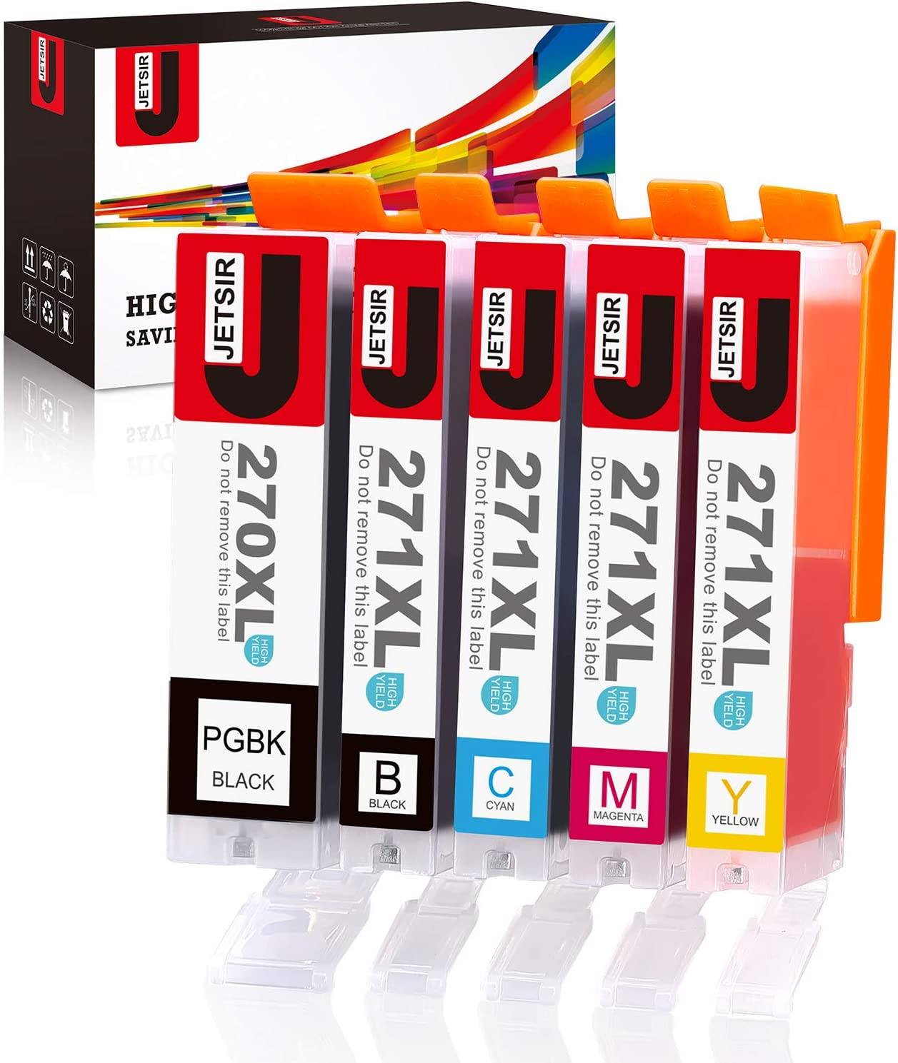 5 Pack 1 PGBK,1 BK,1 Cyan,1 Magenta,1 Yellow Foiset Compatible Ink Cartridges Replacement for Canon PGI-270XL CLI-271XL to use with PIXMA MG6820 MG5720