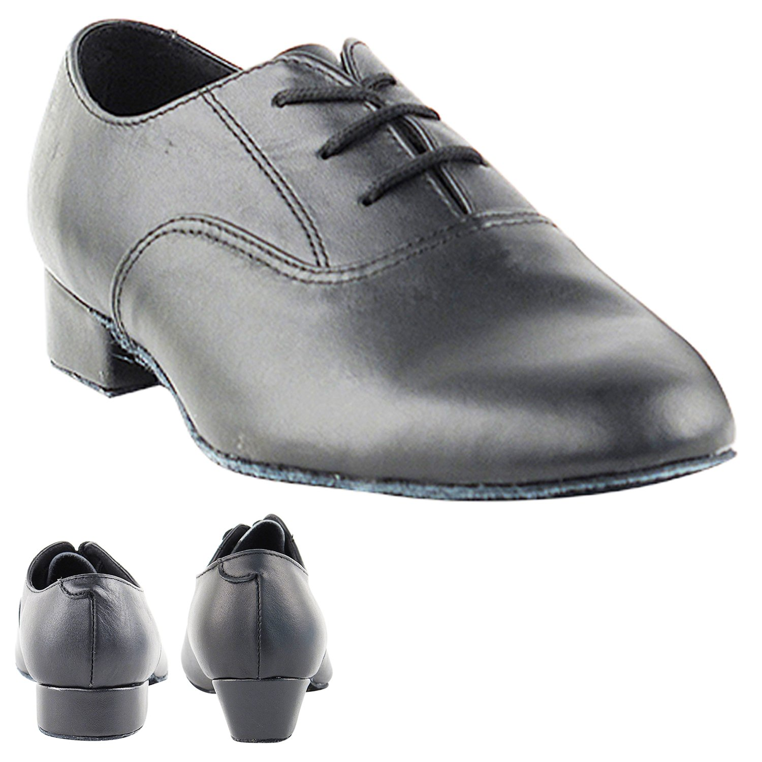 Party Party Boys Ballroom Dance Shoes: 919101B:Black Leather:1'' Heel:Boys Size 3
