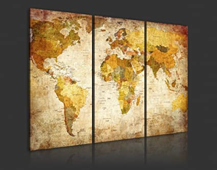 Canvas Prints Map Art, 3 Panels World Map Wall Art Antiquated Style ...