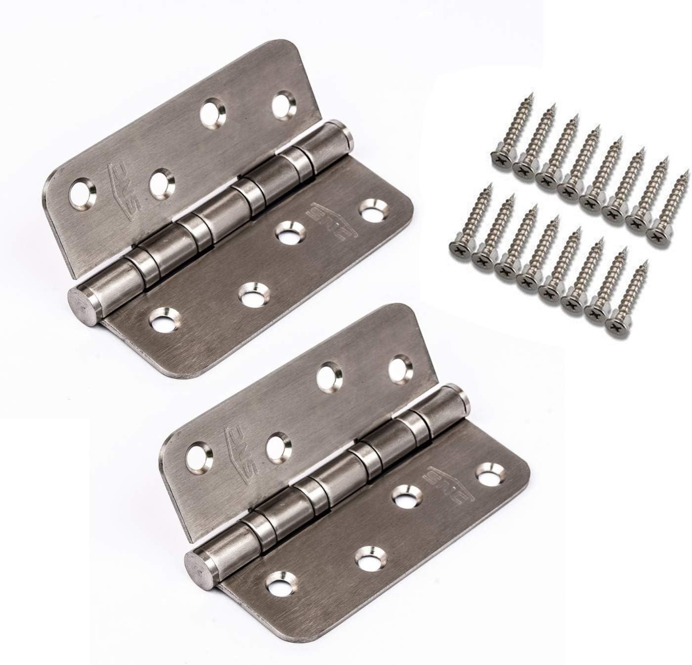INOX Bisagras de puerta – 4 rodamientos para un movimiento perfecto – Acero inoxidable de alta calidad – Resistente a la intemperie – Suave y Silencioso – Bola de repuesto – (par de 2, 100 mm)