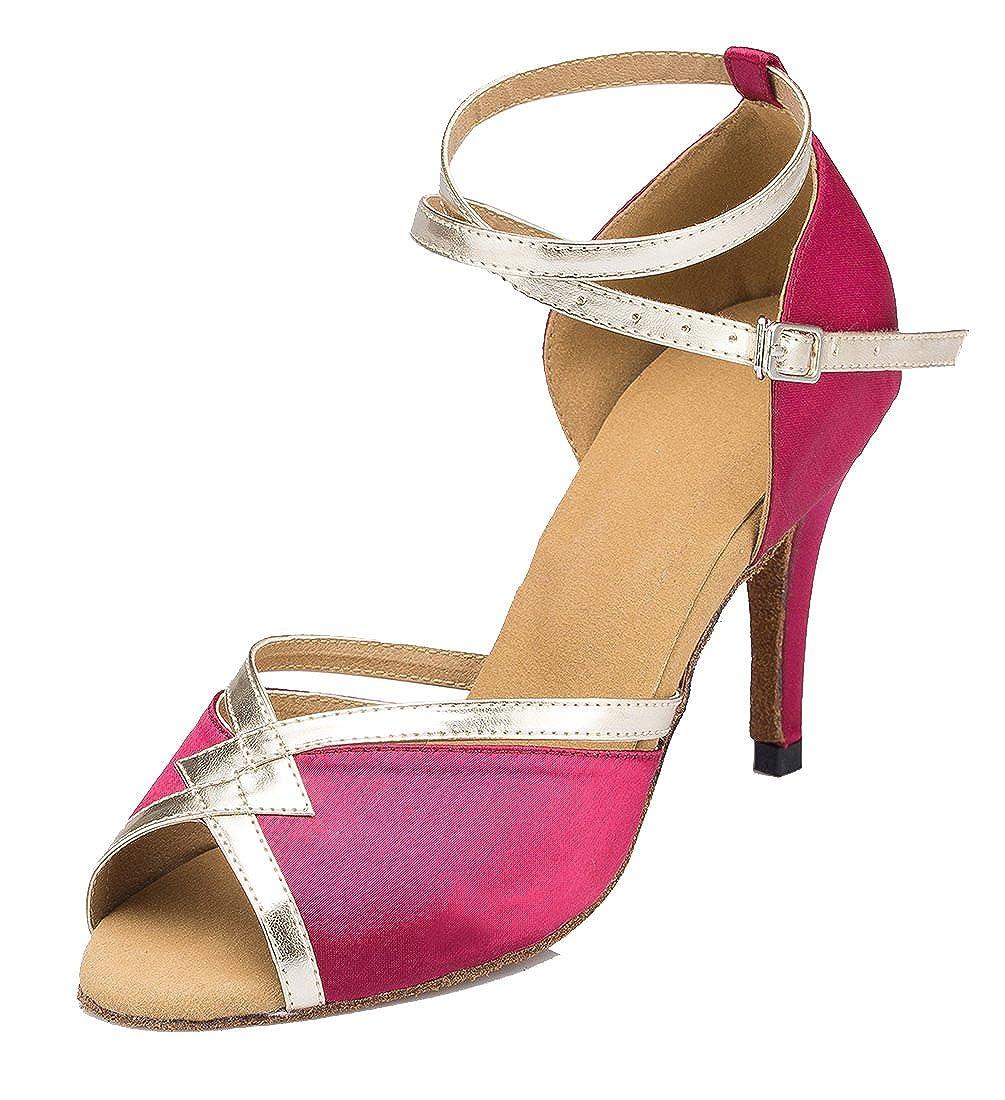 MGM-Joymod Womens Ankle Starp Peep Toe Synthetic Evening Wedding Tango Ballroom Modern Latin Dance Shoes