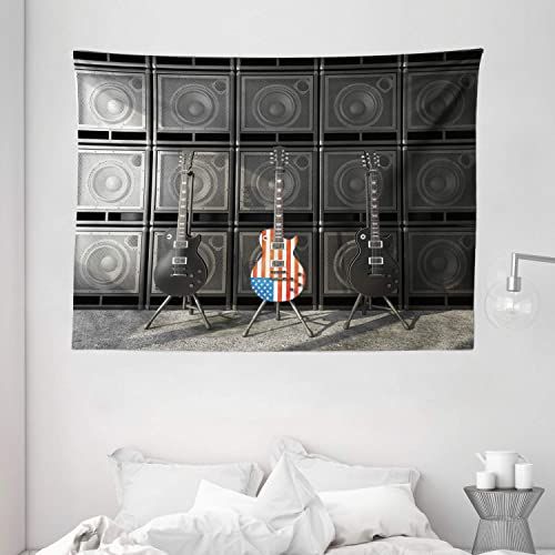 Ambesonne American Flag Tapestry, Black and Us Bass Guitar Electronic Rock Music Theme Digital Graphic Work, Wide Wall Hanging for Bedroom Living Room Dorm, 80 X 60 , Charcoal Red