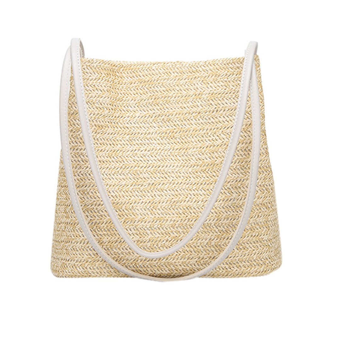 Amazon.com  Summer Women Durable Weave Straw Beach Bags Feminine Linen  Woven Bucket Bag Grass Casual Tote Handbags Knitting Rattan Bags Beige  small  Sports ... 0388f23c86da