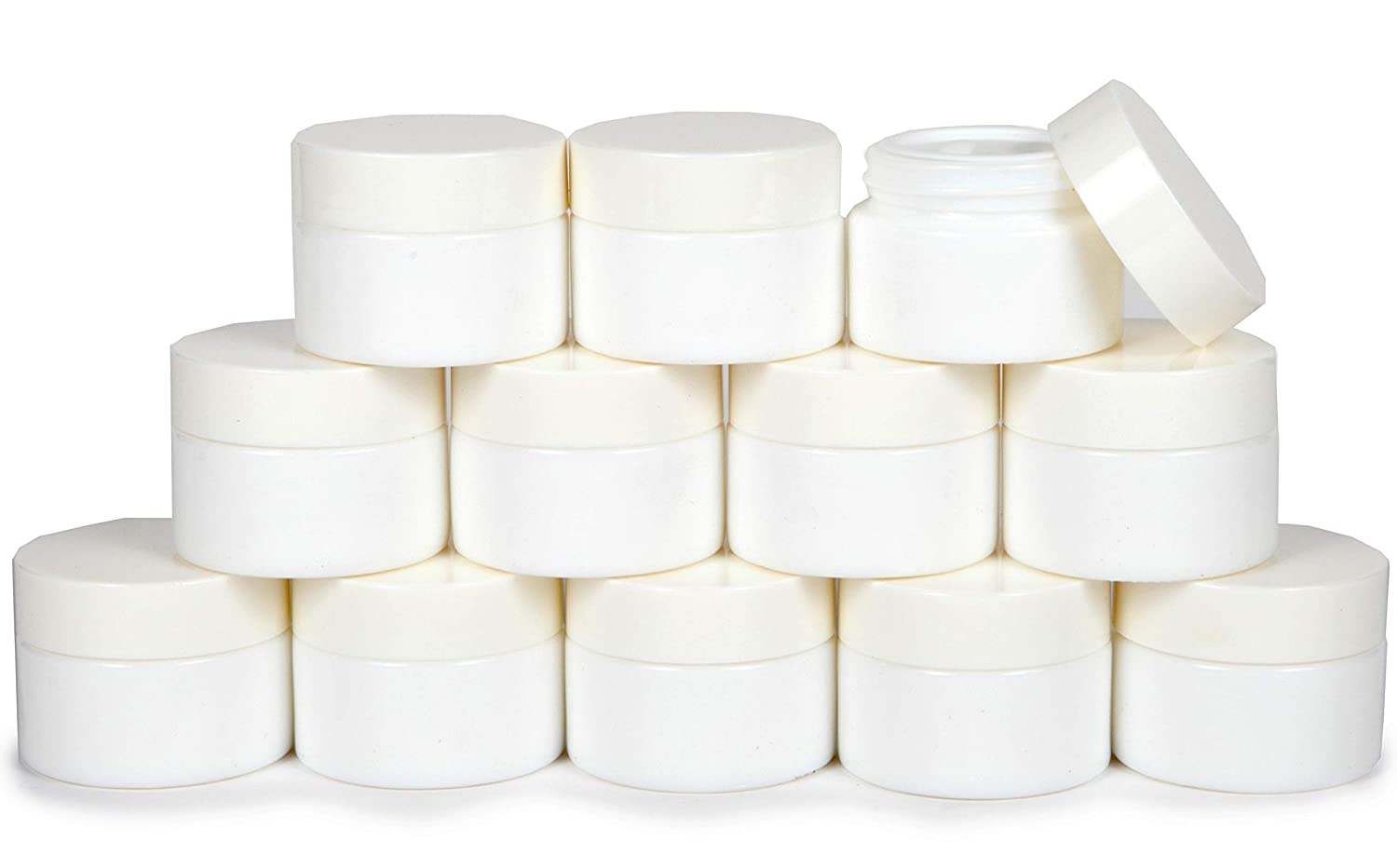 Vivaplex, 12, 1 oz, Round, Opal, White, Glass Jars, with Inner Liners and white Lids