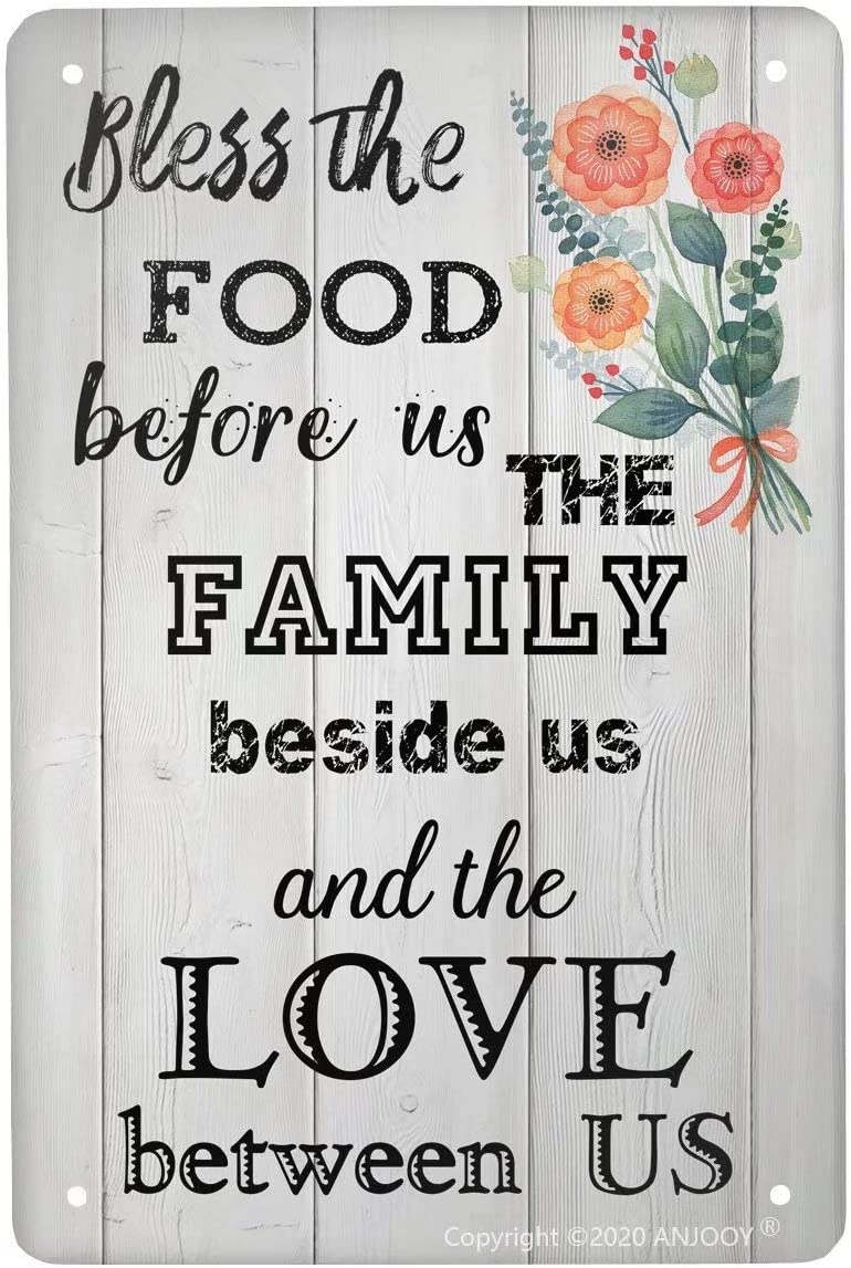 Retro Tin Signs Vintage Metal Sign Bless The Food Before Us The Family Beside Us and The Love Between Us Flower Plaque Poster for Home Coffee Funny Wall Decor Art 8 X 12 Inch