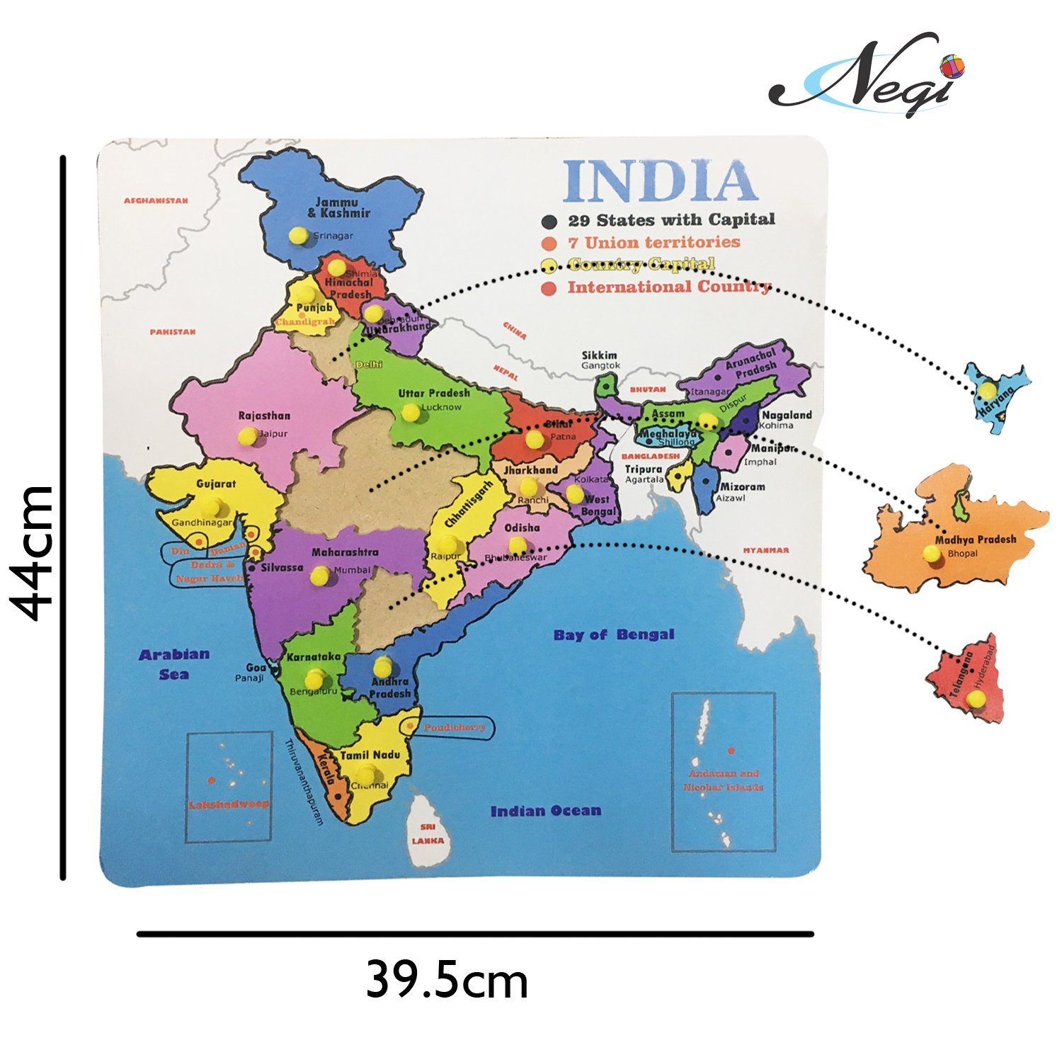 Location Of Ranchi In India Map.Buy Negi 21 Pcs Knob Wooden Puzzle Map Of India Size 44cm X 39 5cm