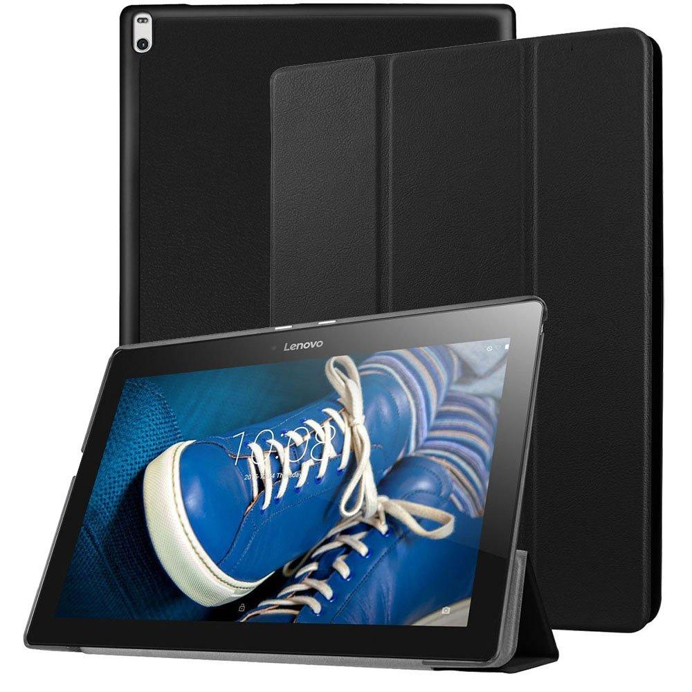 Lenovoタブ4 10ケース – Pulenウルトラスリム軽量スマートケース三つ折りカバースタンドwith柔軟なソフトTPUバックカバーfor Lenovoタブ4 10 / 10 Plus 10インチ2017リリースタブレット ブラック  ブラック B07558WNR4