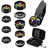 (Upgraded) Phone Camere Lens, 9 in 1 Cell Phone Lens Kit, Zoom Lens, 0.36X Wide Angle Lens + 0.63X Wide Lens + 15X Macro…