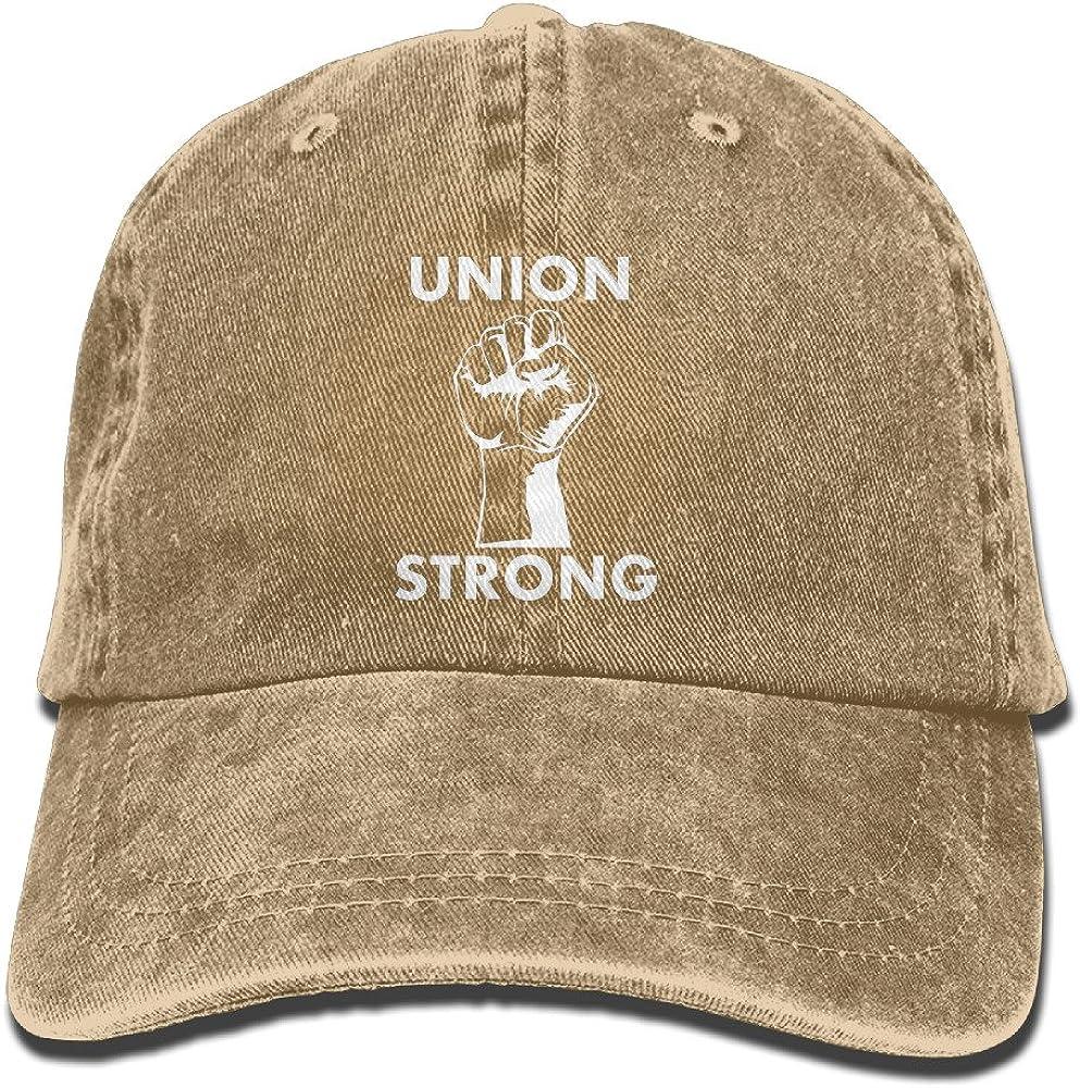 Union Strong Unisex Adjustable Cotton Denim Hat Washed Retro Gym Hat Cap Hat