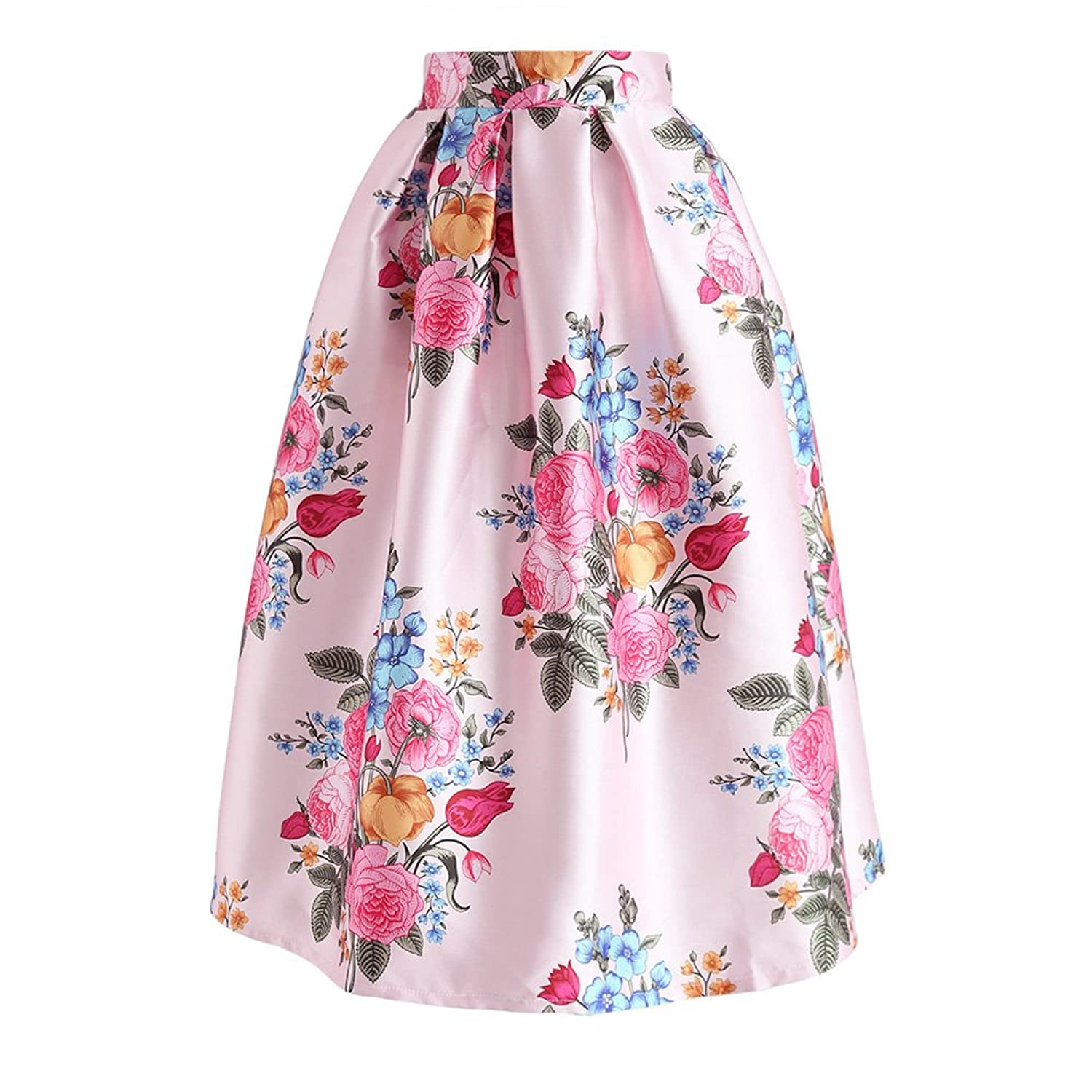 cb464ad537 Top1: Chicwish Women\'s Navy/Pink Floral Bouquet Printed Midi Skirt