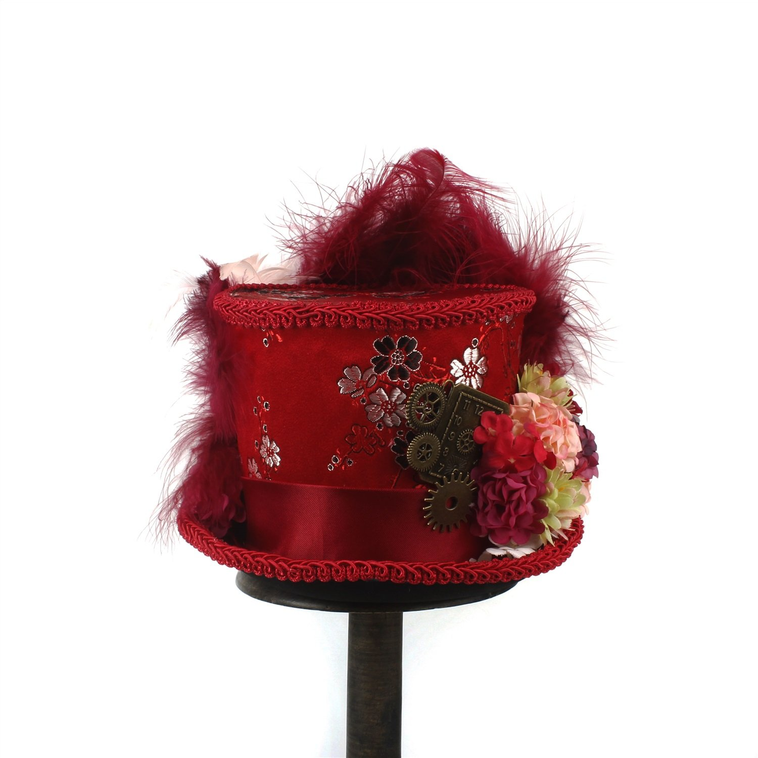 LL Women;s Red Mini Top Hat, Antique Red and Ivory Tea Cup Hat Mad Hatter Hat, Tea Hat,Mad Hatter Tea Party (Color : Red, Size : 25-30cm) by LL (Image #5)