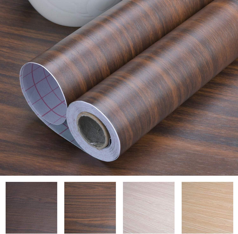 Dark Green Wood Wallpaper Self-Adhesive Contact Paper Waterproof Texture Vinyl