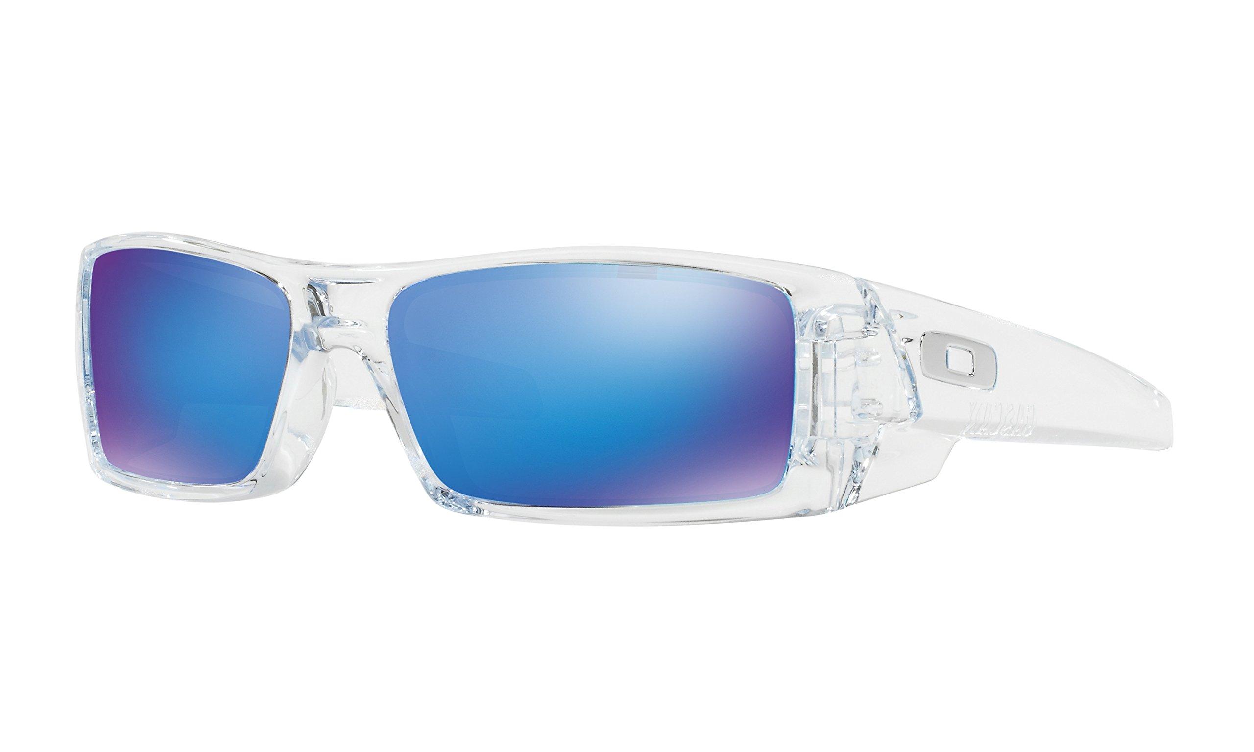 Oakley Men's Gascan Rectangular Sunglasses Polished Clear/Sapphire Iridium, 60 mm by Oakley