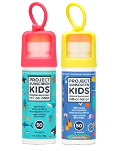 Project Sunscreen Roll-On SPF 50 Sun Protection for Kids - Natural Mineral Based and Water Resistant Formula For Sensitive Skin Aqua/Blue Combo 2 pack