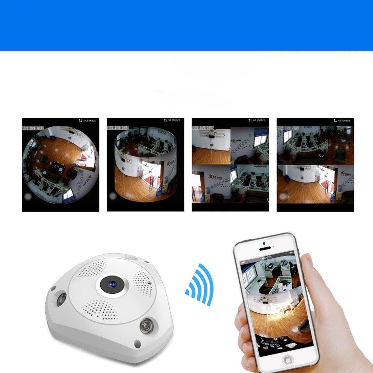 360° Panoramic Wireless IP Camera, ixaer HD Security Fish-Eye Lens WiFi Security Surveillance Camera VR 3D Home Security IP Camera