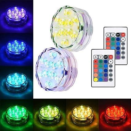 biuday Luces sumergibles LED, luz subacuática con control remoto Luz de buceo con acuario multicolor
