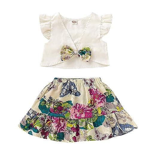 Baiomawzh Ropa Bebe Niña Verano Recién Nacido-2PC/Conjuntos Camisas ...