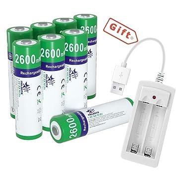 melasta 8pack NiZn AA Pilas Recargables 2600mWh 1.6V AA Alto Rendimiento Pilas con Cargador para cámara Digital Juguetes MP4 RC Coche Luz de Flash ...
