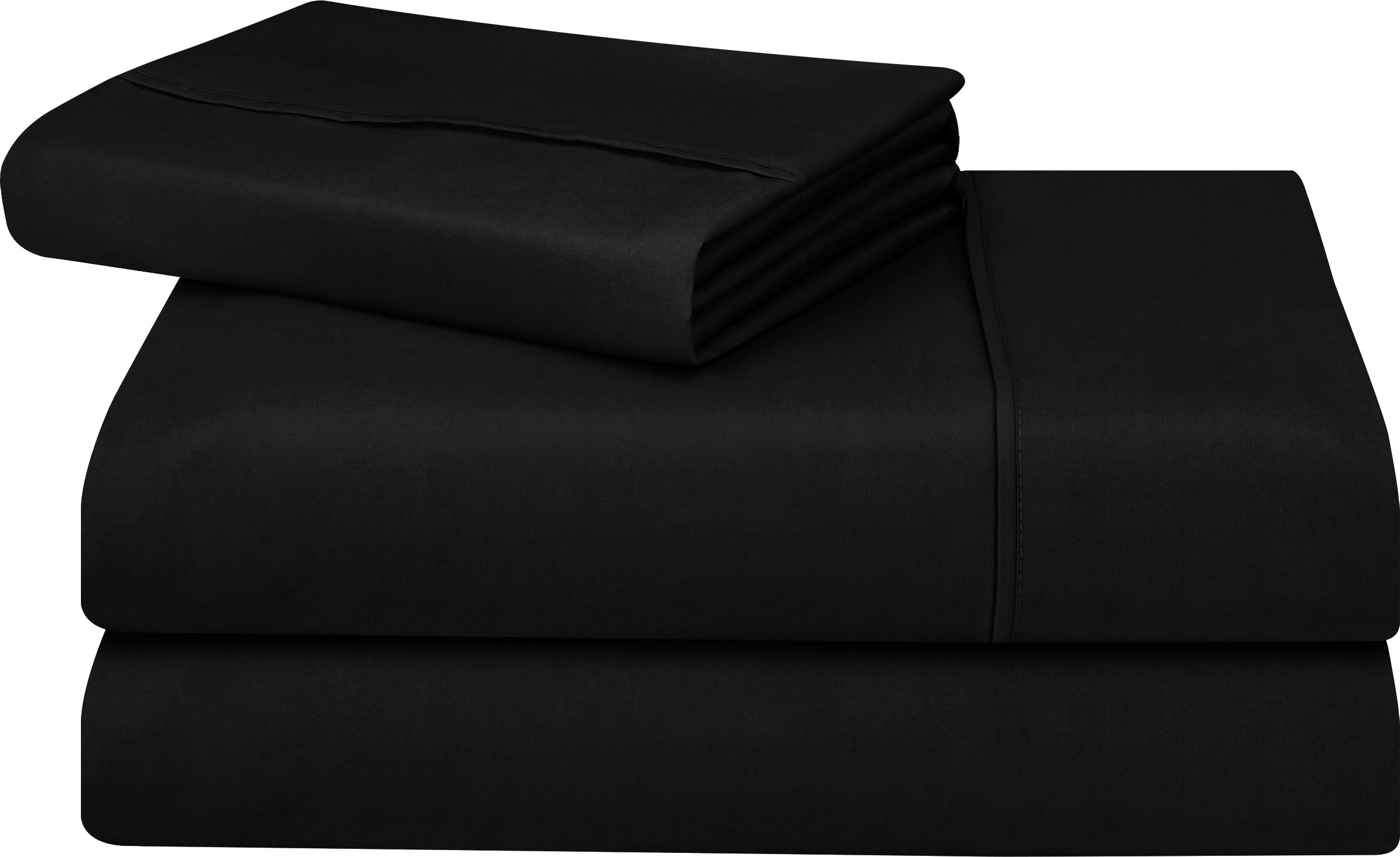 Utopia Bedding Soft Brushed Microfiber Wrinkle Fade and Stain Resistant 3-Piece Twin Bed Sheet Set - Black