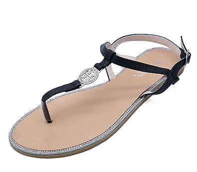 5fc31996d3e34 Womens Black T-Bar Flat Diamante Flip-Flop Comfy Summer Thong Sandals Shoes  Sizes 3-8  Amazon.co.uk  Shoes   Bags