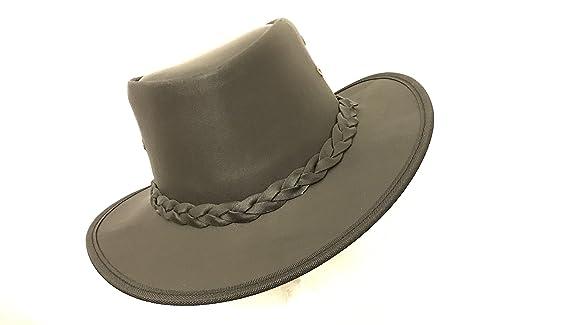 de44ef2b724 Lesa Collection Kids Childrens Australian Aussie Black Leather Bush Hat  Cowboy Hat One Size 55cm (XS)  Amazon.co.uk  Clothing