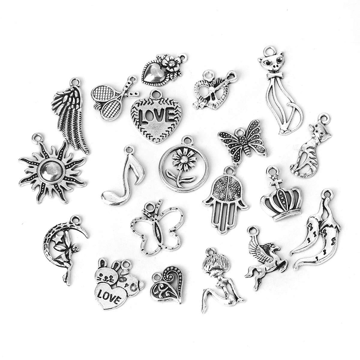 Obling 20pz perline risultati zinco lega ciondoli per creazione gioielli bracciale collana, antique silver tone, A B-Ling