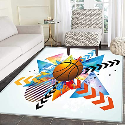 Teen Room Decor Area Rug Carpet Basketball In Front Of Zigzag Circular  Geometric Minimalist Forms Graphic