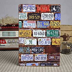 XIAGEANA Car Plate Sign Tin Sign Retro Style Sign Vintage Wall Decor for Garage, Club, Bar Wall Decoration Aluminum Metal Sign 8x12 INCH
