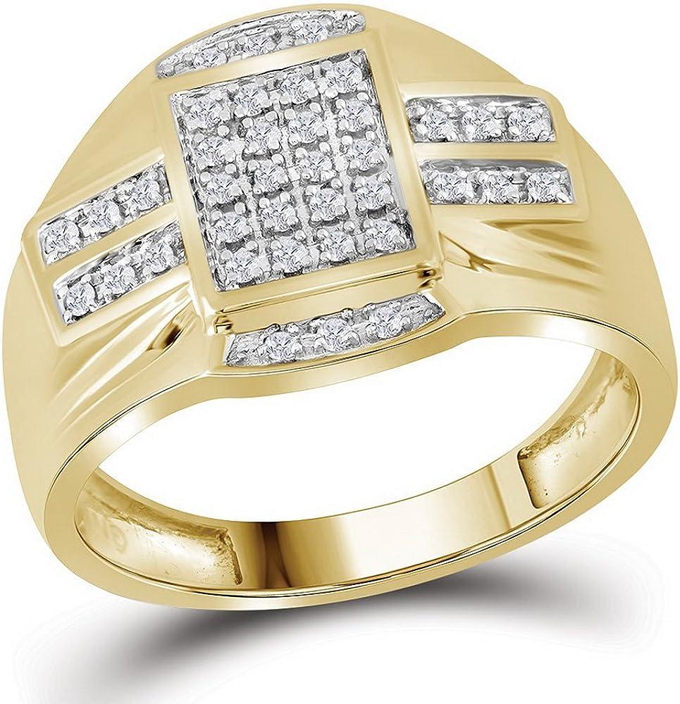 Jewels By Lux anillo rect/ángulo de oro amarillo diamante para hombre