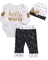 Newborn Baby Girl Boy Top Romper+Pants Leggings Hat Outfits Set