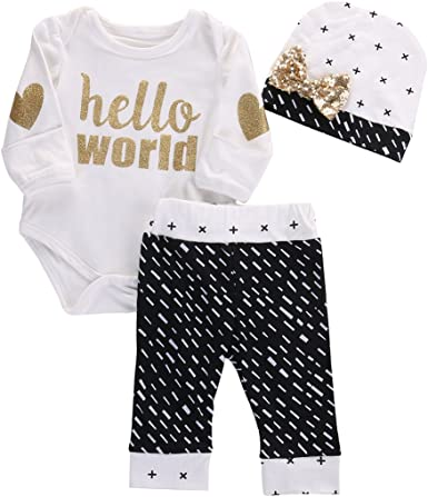 3PCS Newborn Baby Boy Girl Tops Romper Pants Leggings Hat Outfits Set Clothes US