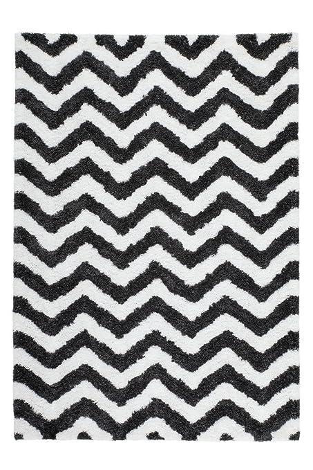 tapis Shaggy bon marché zig zag rayé noir blanc beige taupe: Amazon ...