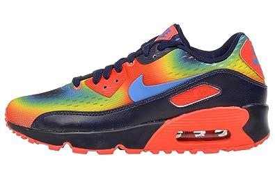 Boys Nike Air Max 90 QS Obsidian/Bright Crimson/Volt/Photo Blue