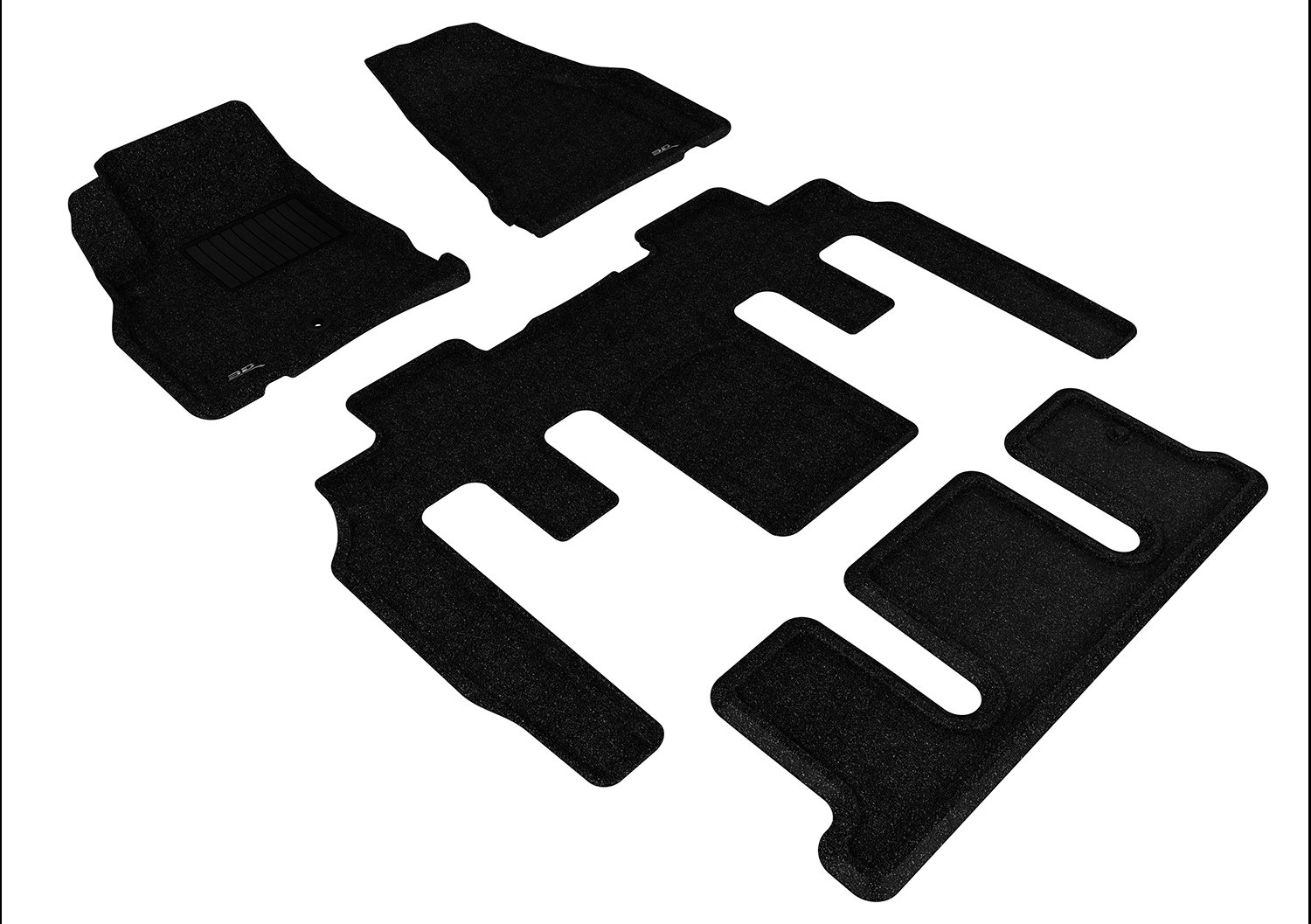 Tan 3D MAXpider Complete Set Custom Fit All-Weather Floor Mat for Select Chevrolet Traverse Models Classic Carpet
