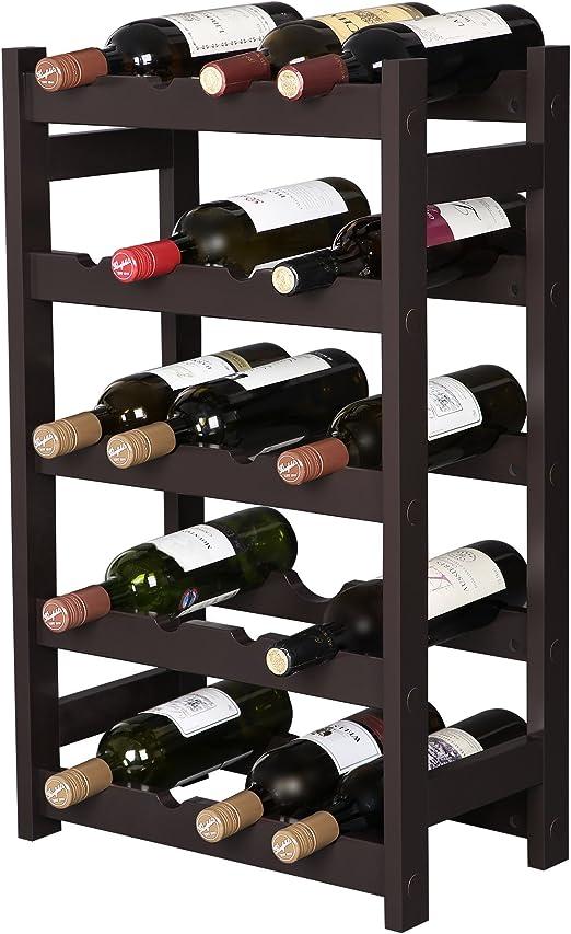VASAGLE ULWR02BR 12 Wooden Wine Rack 2-Tier Tabletop Bottles Storage Shelf Espresso