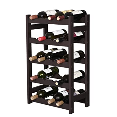SONGMICS Wood 20 Wine Display Rack, Standing Bottles Storage Shelf, Wobble-Free, Espresso ULWR01BR, 5-Tier