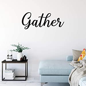 """Vinyl Wall Art Decal - Gather - 16"""" x 40"""" - Thanksgiving Dinner Holiday Season Trendy Seasonal Quote Sticker for Home Kitchen Family Dining Room Living Room Store Window Door Decor (Black)"""